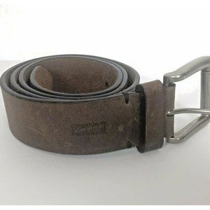 Levis Brown Leather Belt 38 Silver Buckle